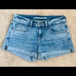 Old Navy Roll-Up Highrise Blue Boyfriend Shorts 0